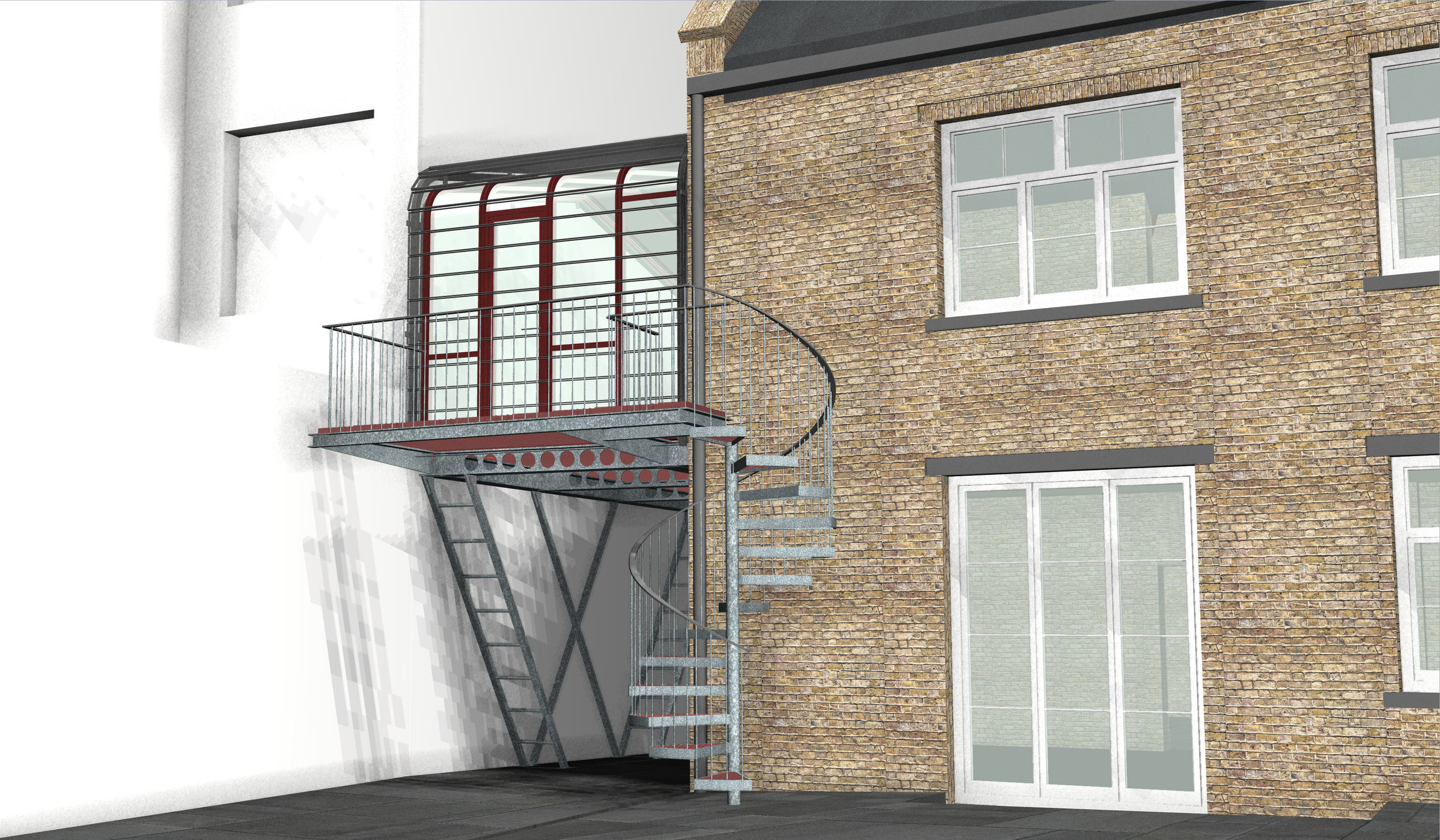 We created an additional access from the studio's backyard, through a bespoke spiral stair and balcony