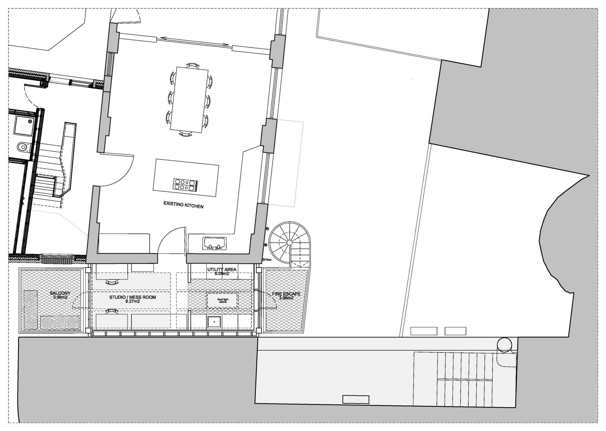 First floor plan showing access from the existing house kitchen