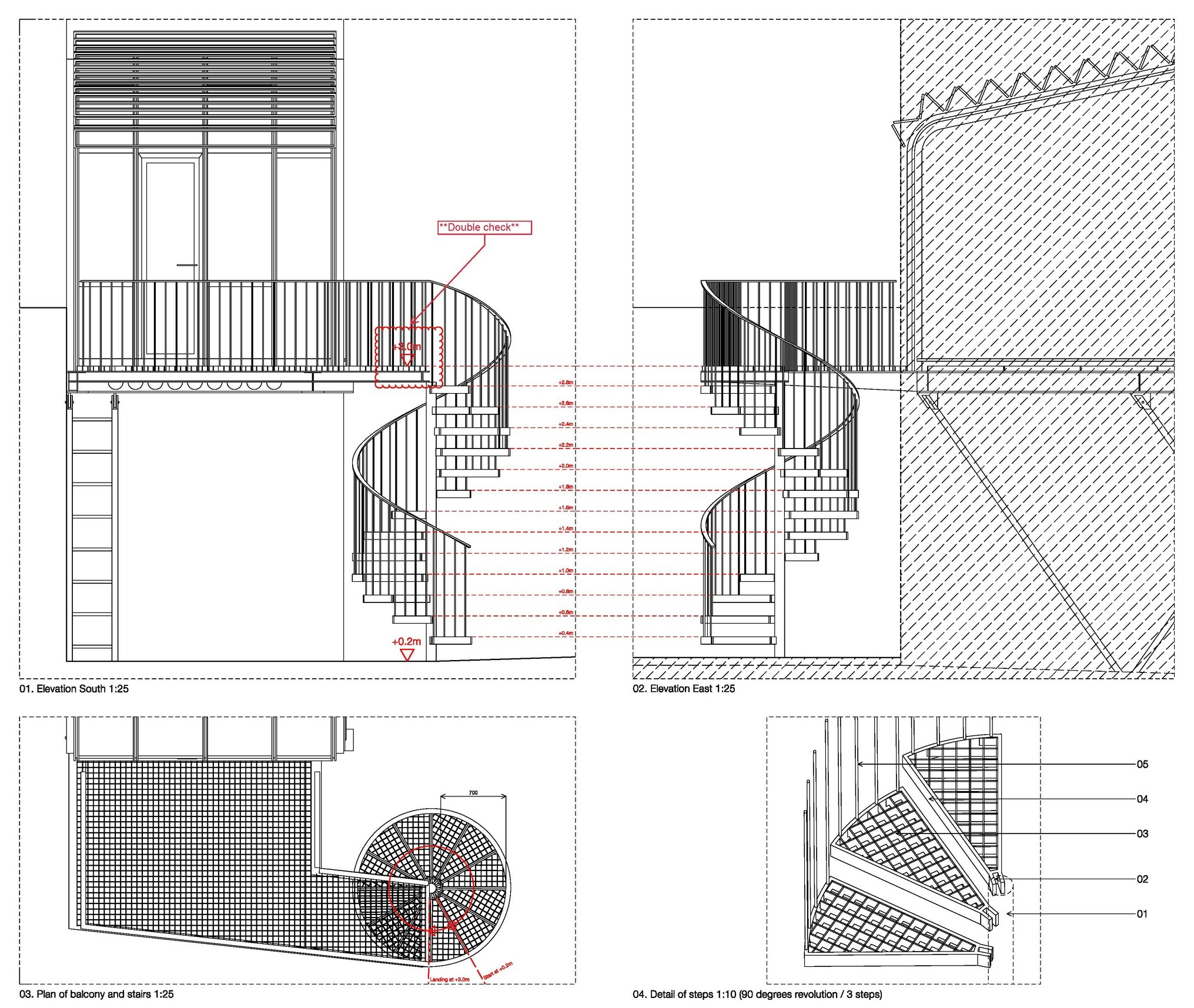 Spiral stair and balcony are bespoke industrial looking items to blend with the studio ethos