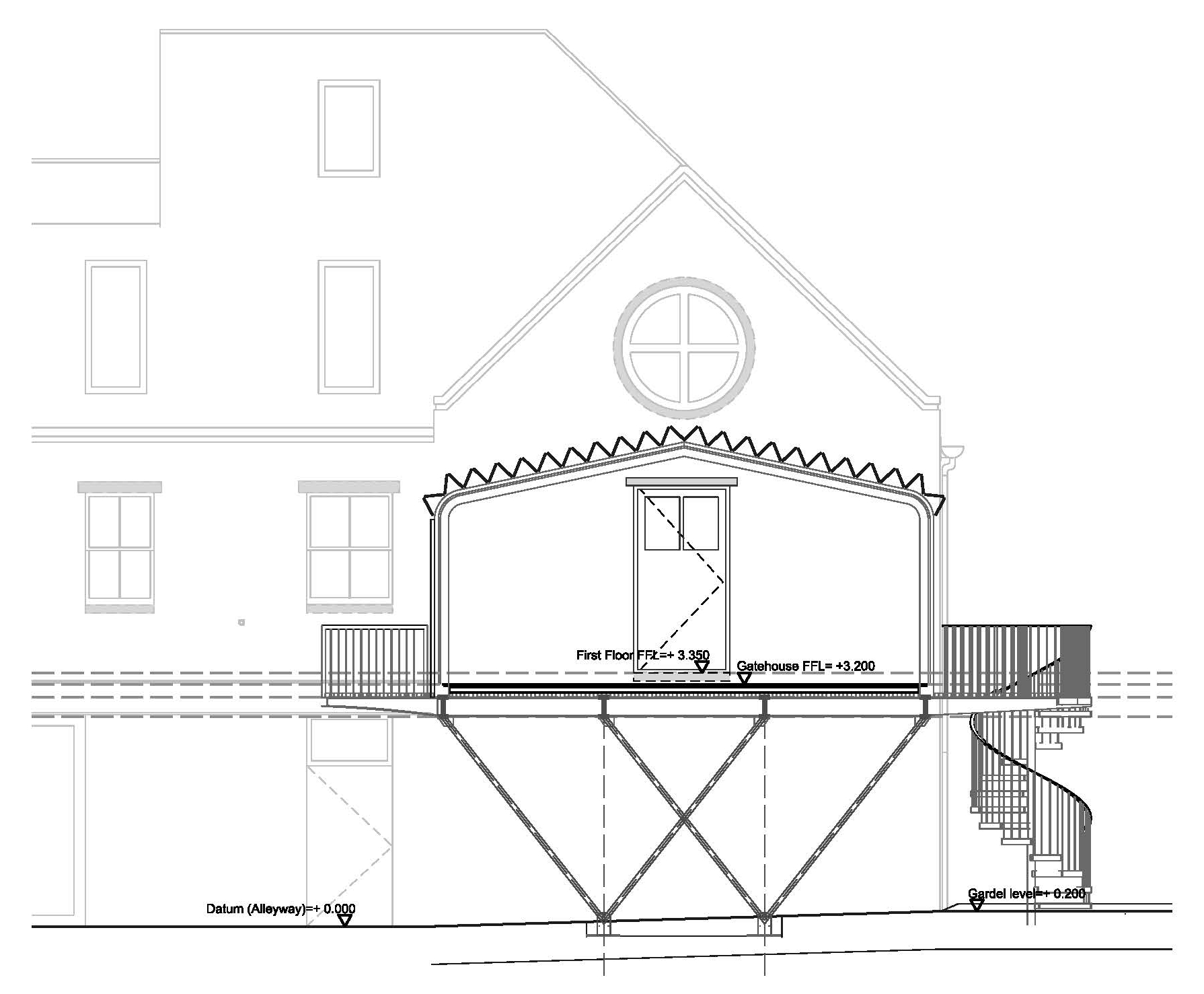 Section showing the elevation of the client's house - a renovated Victorian barn