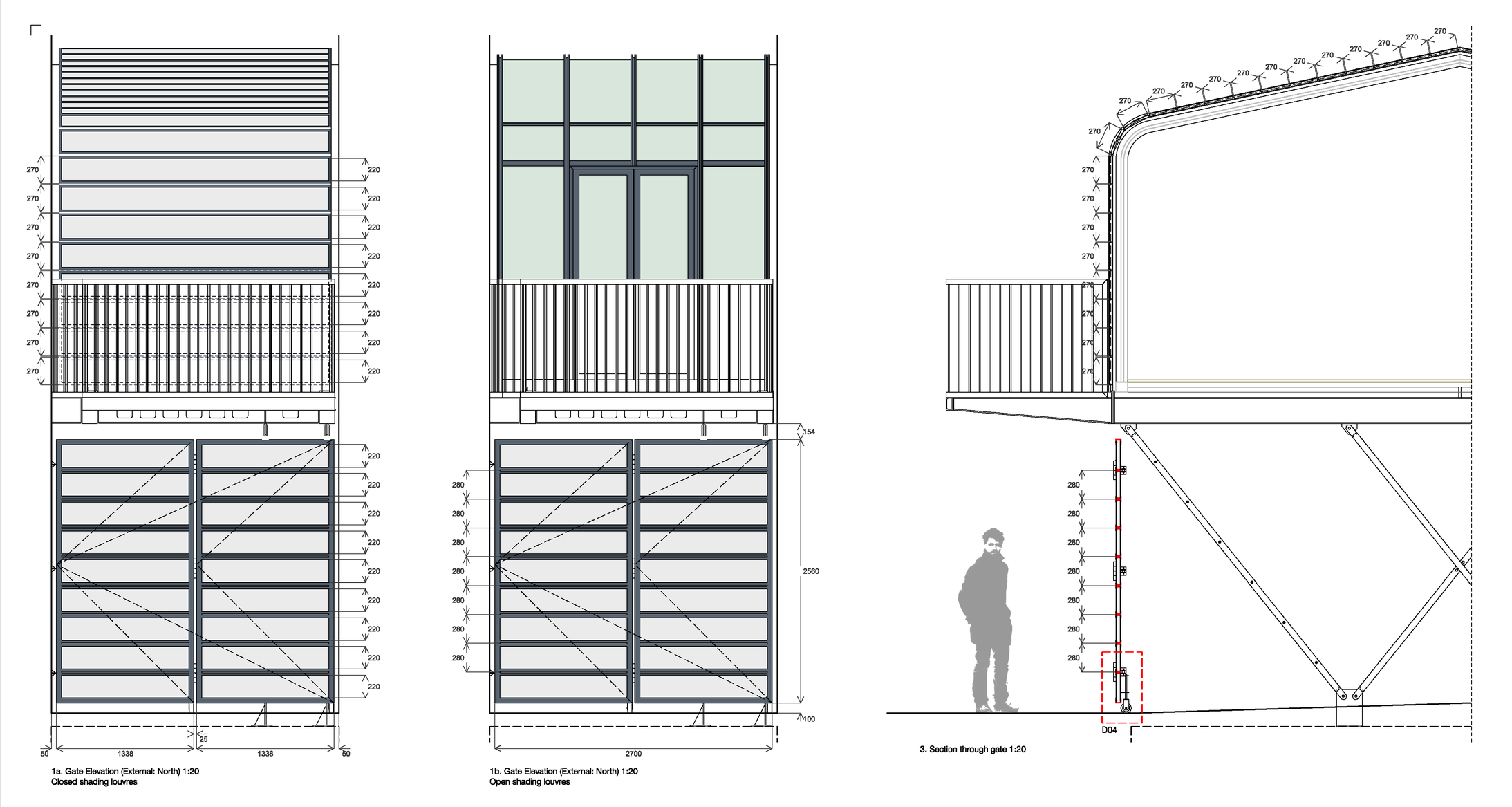 Shading system and ground floor gates were designed almost as a continuous curtain to preserve a sense of continuity