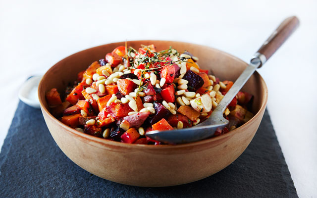 ROASTED ROOT VEGETABLES WITH PINE NUTS