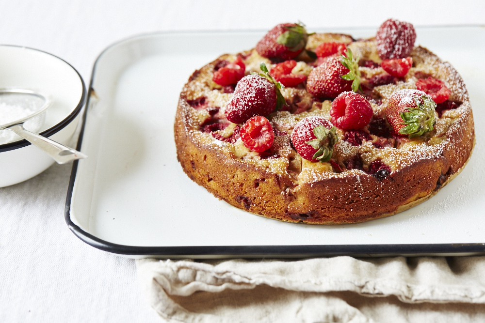 Strawberry Rhubarb Yogurt Cake (GF, V)
