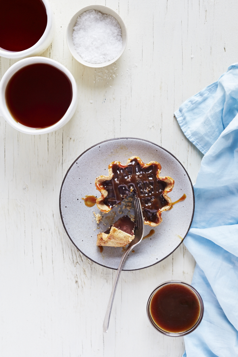 Chilled Truffle Tarts with Salted Caramel (GF, V)