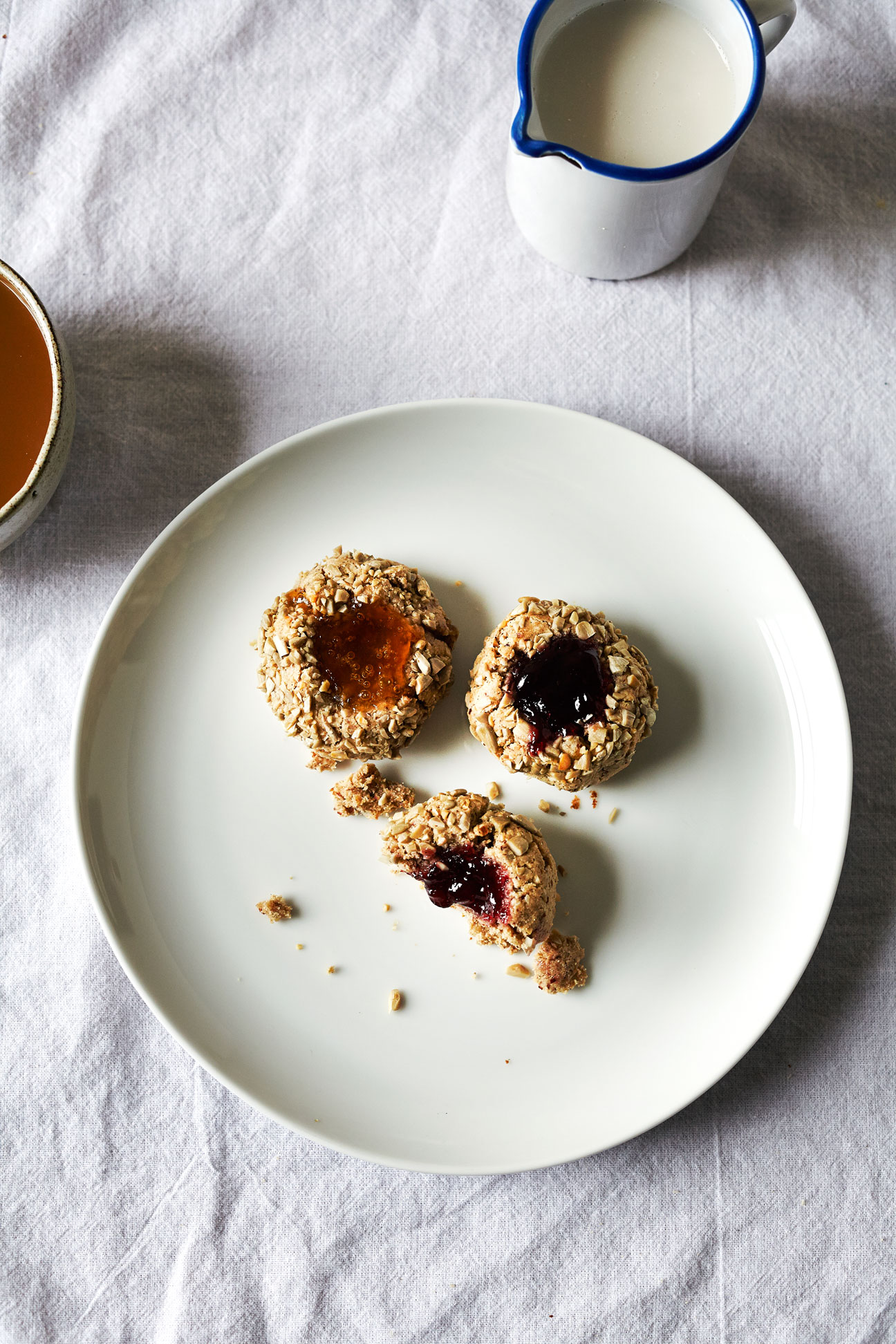 Chestnut Sunflower Jam Thumbprint Cookies (GF, DF)