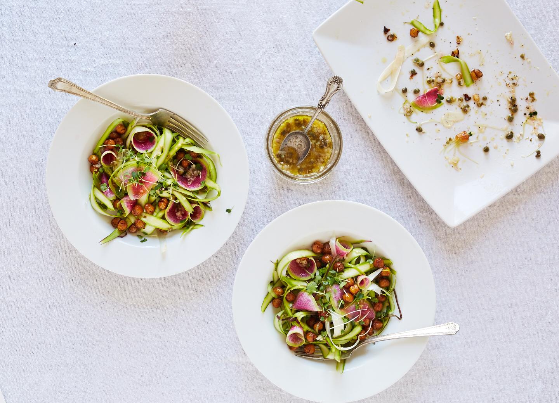 Shaved Asparagus w/ Chickpeas & Caper Vinaigrette (GF, V+)