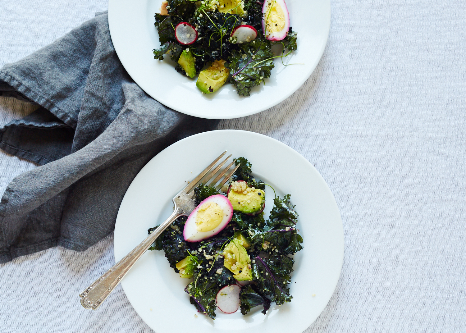 Raw Kale Salad with Beet-pickled Egg & Quinoa (GF, DF)