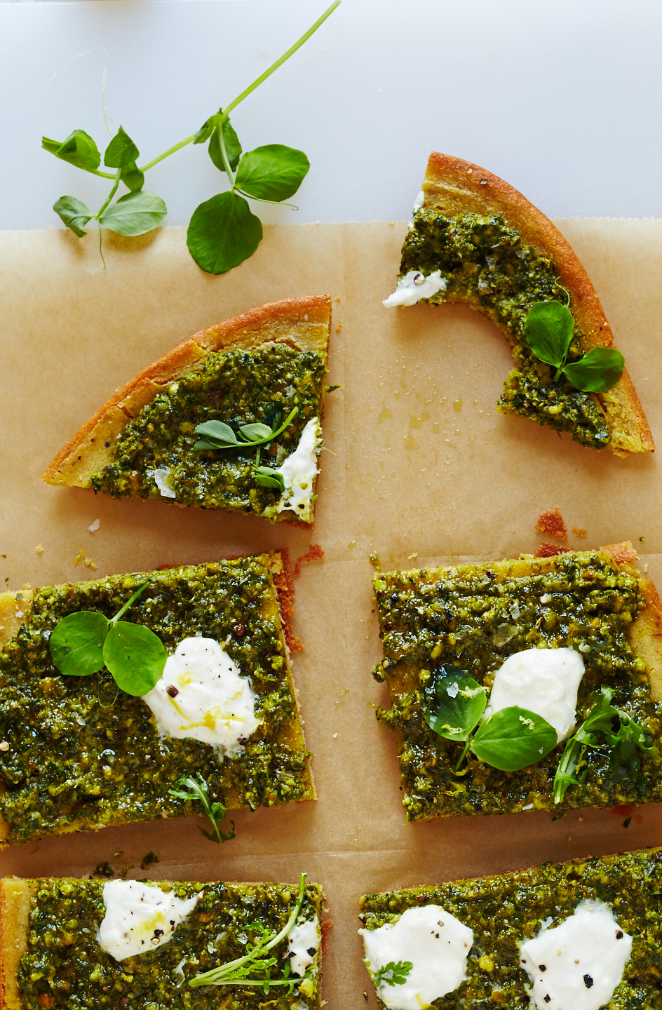 Chickpea Pizza, Nettle Pesto & Burrata (GF, V)