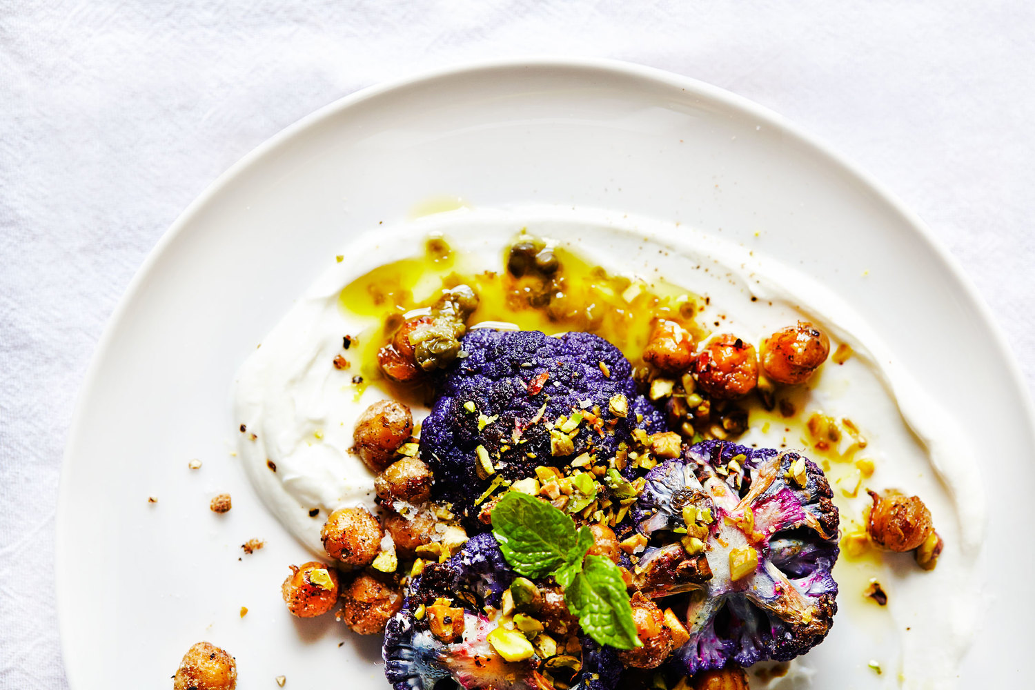 Roasted Cauliflower, Coriander Chickpeas & Caper Sauce (GF, V)