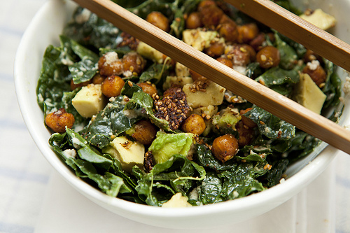 Kale Caesar with Roasted Chickpeas (GF, V+)