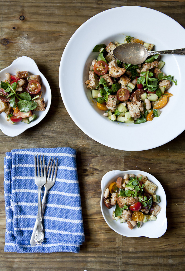 Panzanella with Tomatoes, Cannellinni Beans, Watercress (GF, V+)