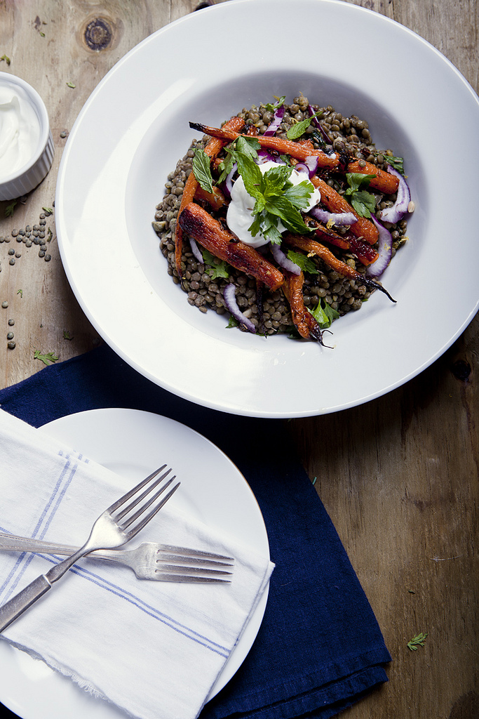 Cumin Spiced French Lentil Salad & Roasted Carrots (GF, V)