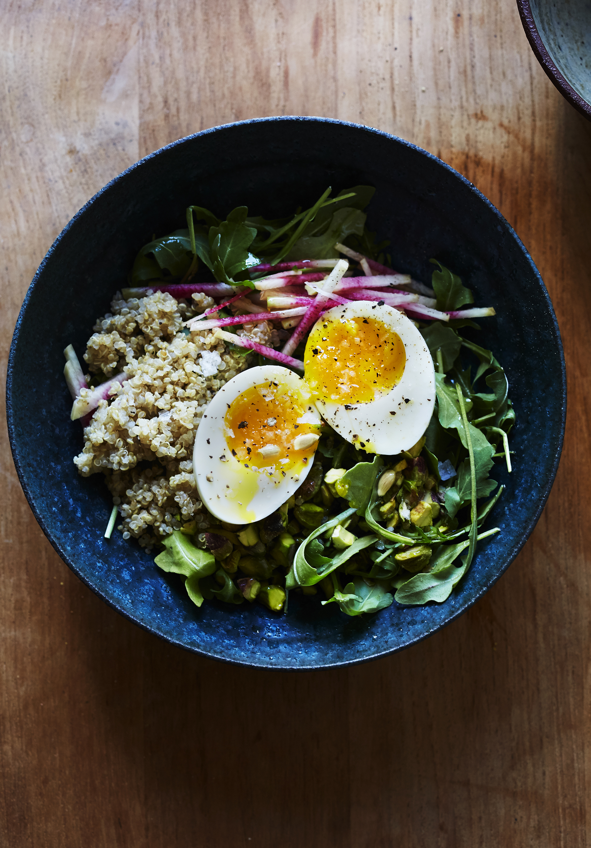 Arugula Salad with Radish, Pistachio & Soft Eggs (GF, V)