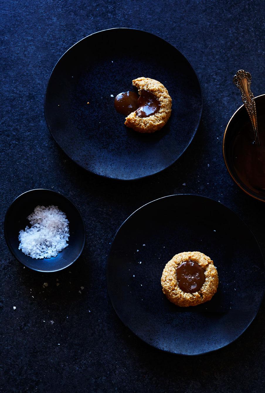 Oat Thumbprint Cookies w/ Chocolate-Tahini Filling (GF, V)