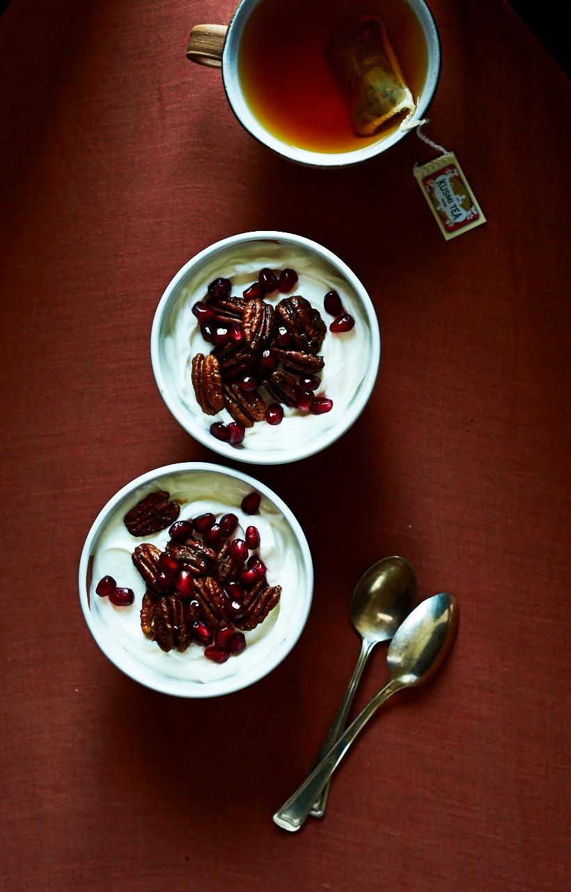 Yogurt Cups with Pom & Spiced Candied Pecans (GF, V)