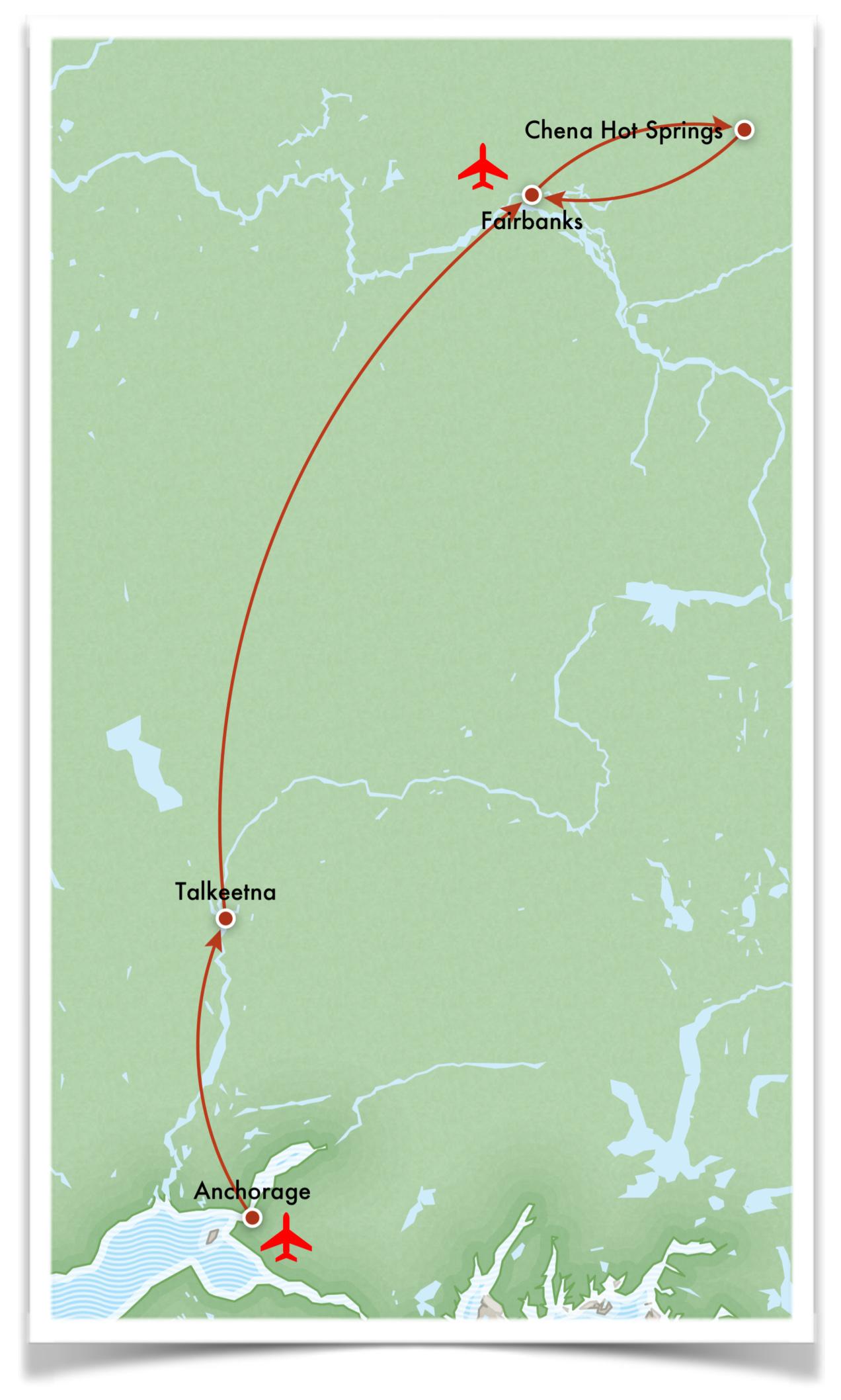 alaska northern lights tour route map