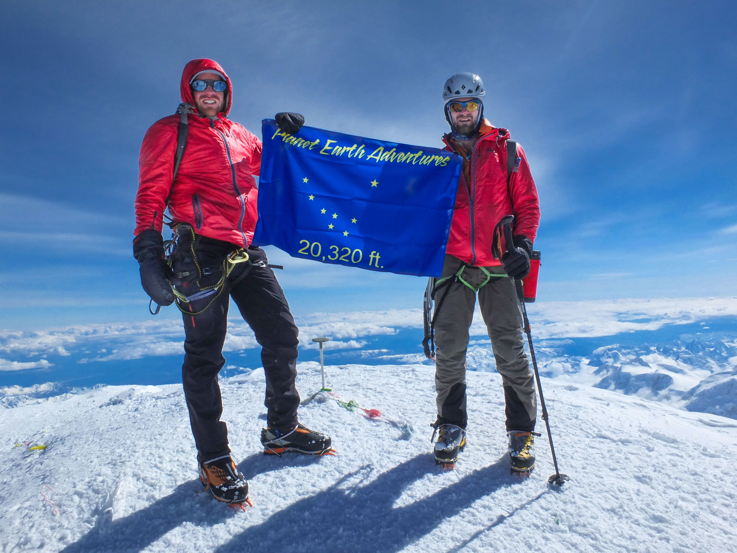 Standing on Denali's summit, Daniel Joll & Steve Fortune of the New Zealand Alpine Team 2014 Alaska Expedition. Not pictured, Pete Harris, Matthew Scholes and Ari Kingan.