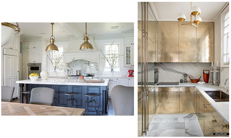 -kitchen on the left designed by Mary McDonald / kitchen on the right designed by Jean-Louis Deniot