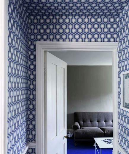 -via Real Simple - graphic blue-and-white, floor to ceiling