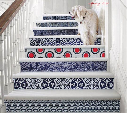 -via Apartment Therapy - love these coordinating mixed prints on the stair rise