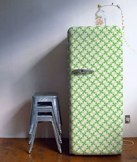 -via shelterness.com - such a cute way to spruce up an old refrigerator!