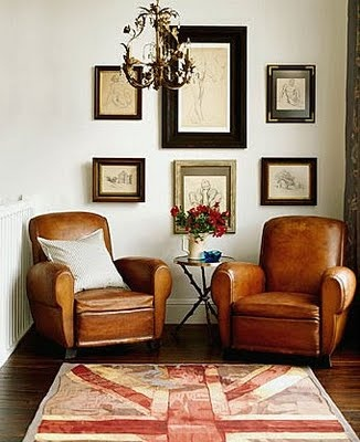 -traditional leather club chairs, via pandashouse