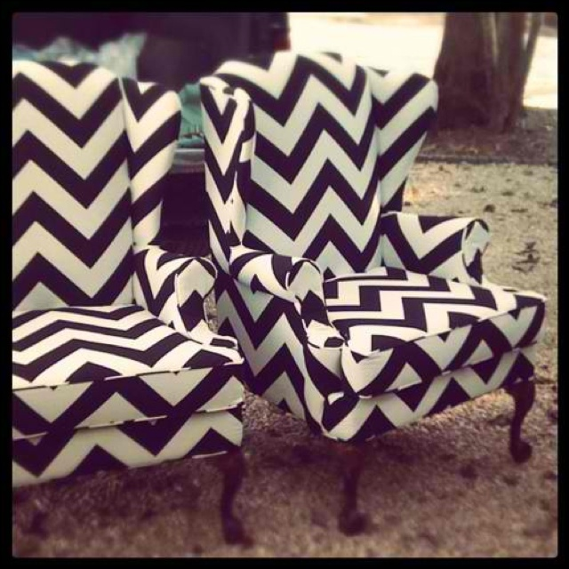-wingback chair in a modern black/white zig-zag, via Pinterest