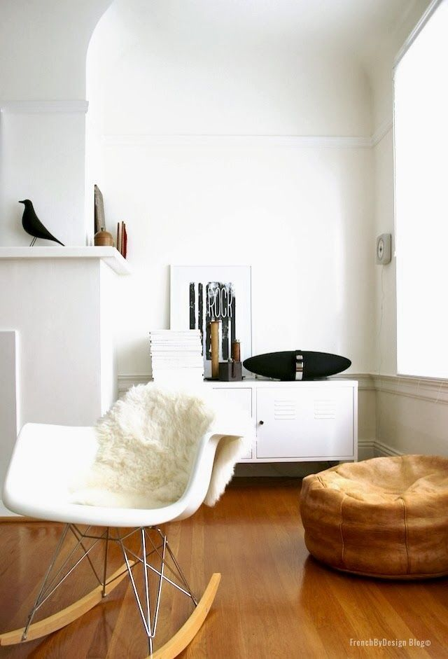 "via French By Design - the warm, brown leather pouf and floor bring in some ""color"" here (Bird!)"