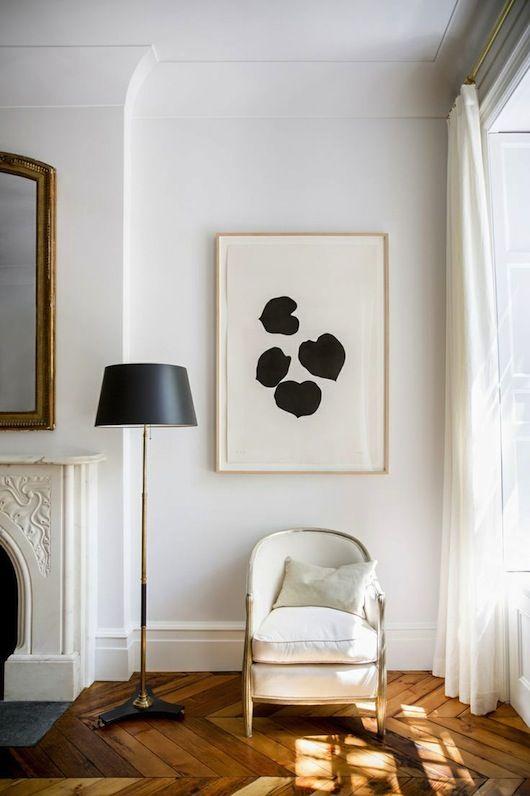 -via domino.com - Just a cool, little corner. I'm a big fan of chevron-patterned wood floors.