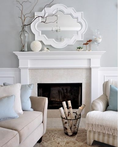 -via Grace & Ivy / This is nice and clean - I dig the masculine shape of the mantel.  Take note of the seams between the tiles.