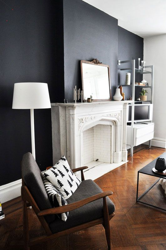 via sfgirlbybay / This appears to be original to the house.  I love how they painted it out white and painted the surrounding wall black.  Great combination of traditional and contemporary.