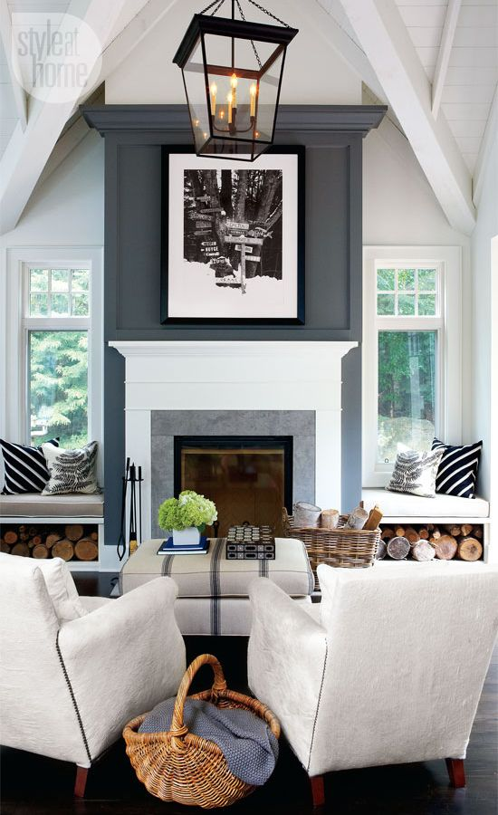 -via babble.com / Love the two windows and window seats, the wood cubbies, the charcoal gray paint and the ceiling. On the stone face, you can see that there is one seam across.  It is three separate pieces. Not a deal-breaker at all - just something I'm currently aware of.