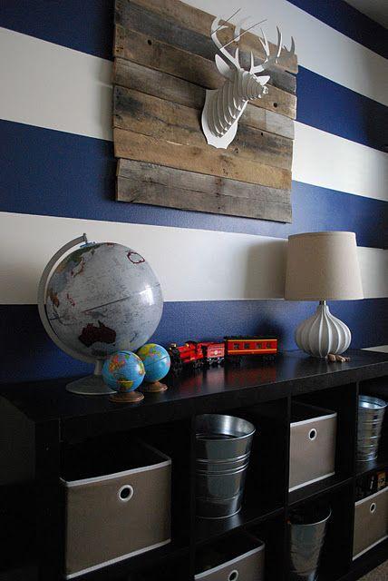 -via  The Shabby Nest  / Wide blue and white stripes make this a fun, modern boy's room!