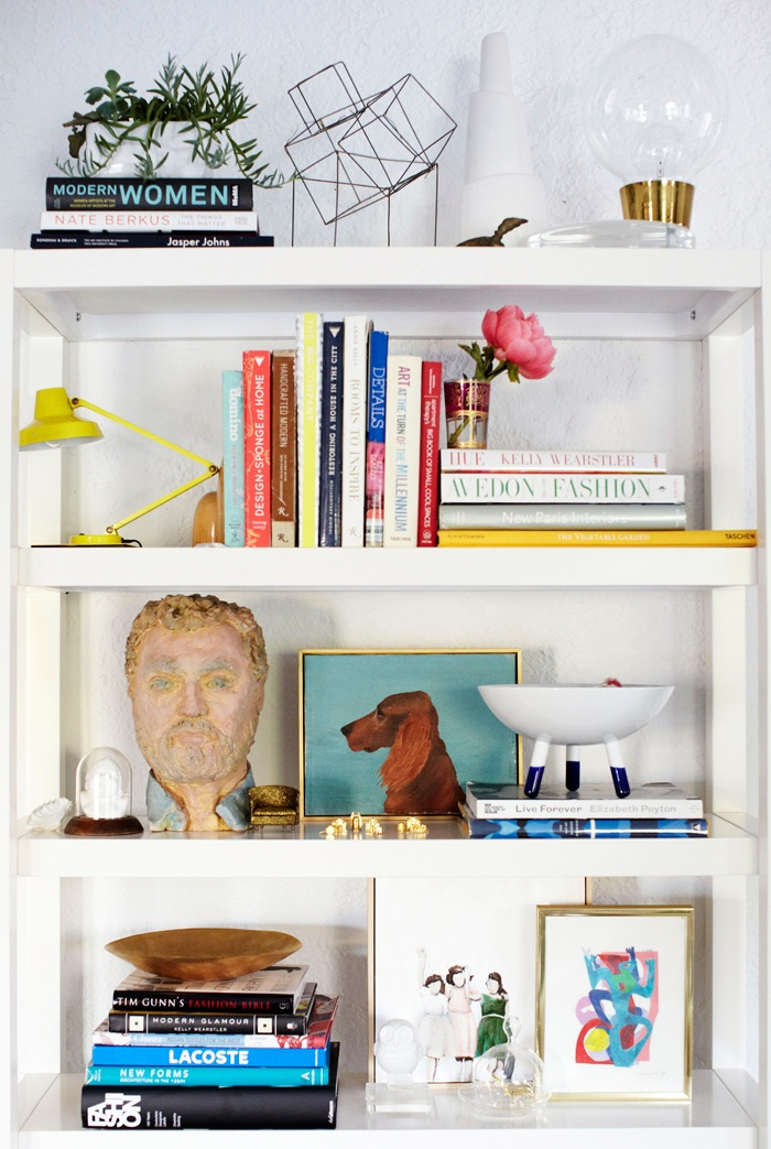 -Styled by Emily Henderson - the master of bookshelf styling.