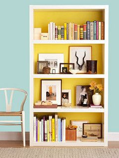 -via onegoodthingbyjillee.com / I love the bright yellow backdrop and the nicely curated objects.