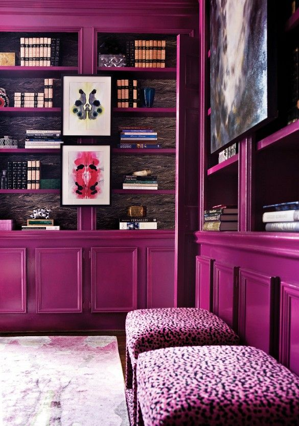 -via domainehome.com / I really dig this unexpected choice.  There's nothing ho-hum about glossy, magenta bookshelves.