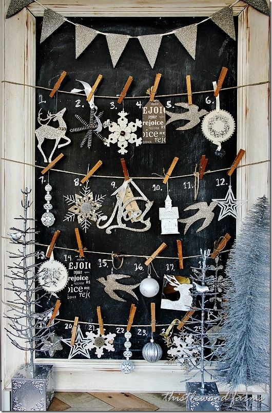 via thistlewoodfarms.com - clever advent calendar, with a new ornament for each day of the month