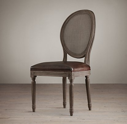 Restoration Hardware - Vintage French Round Cane Back Leather Side Chair