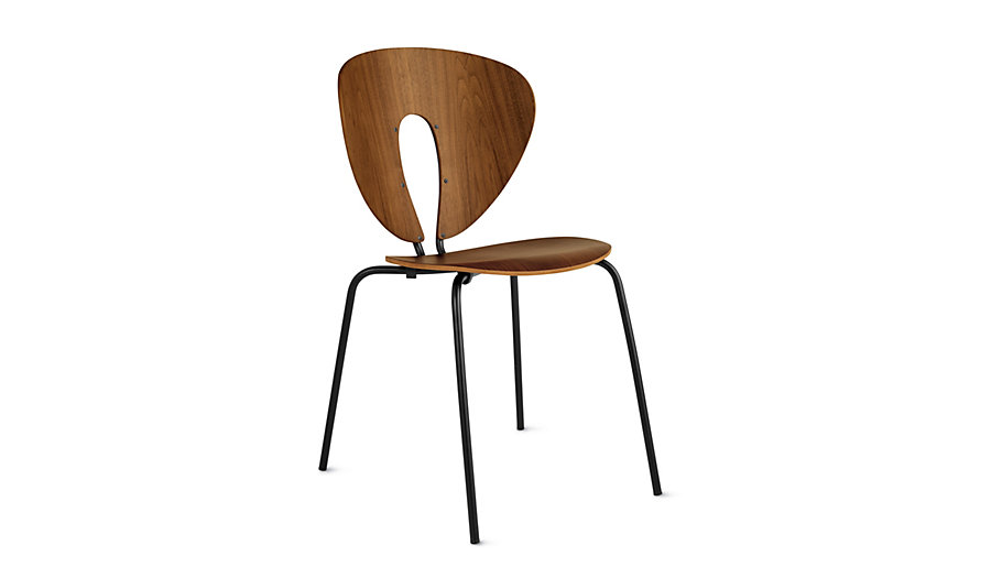 Globus Chair in Wood, Powder-Coated Frame