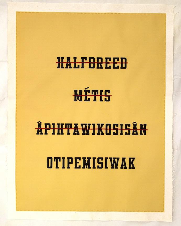 "Otipemisiwak (We Own Ourselves),2012, beaded digital print, 26"" x 20"".Photos: Jordan Bennett"