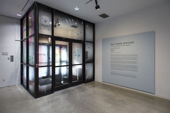 Thoughts, Vinyl on glass, Installation in vestibule of Walter Phillips Gallery, Banff, CAN, 2016. Photos: Rita Taylor