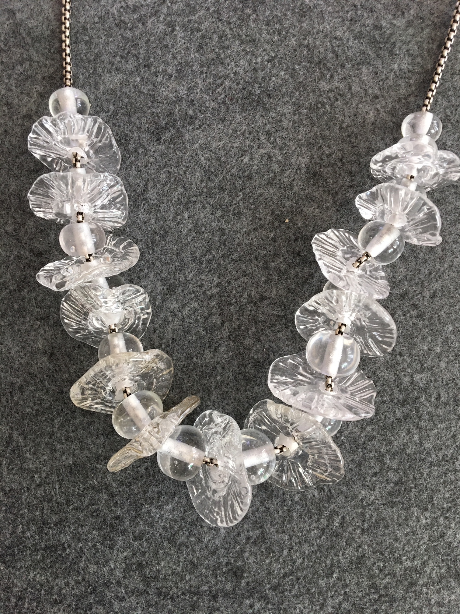 "Handmade Glass Necklace, Crystal Ruffles, 22"", Silver Plate Chain, Sterling Clasp"