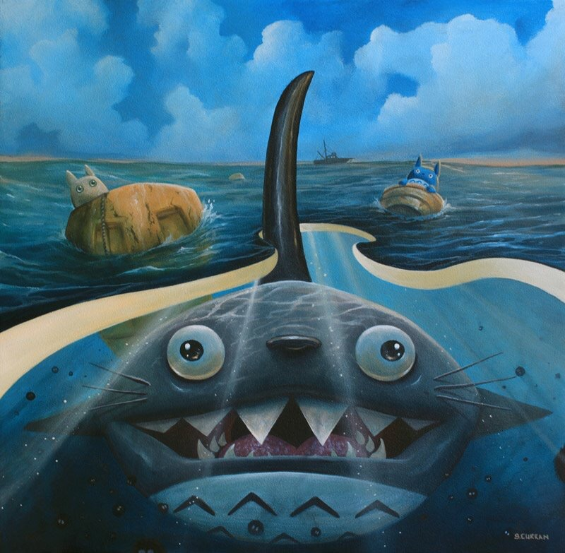 """""""We're gonna need a bigger bus""""  16 x 16 inches  Acrylic on wood"""