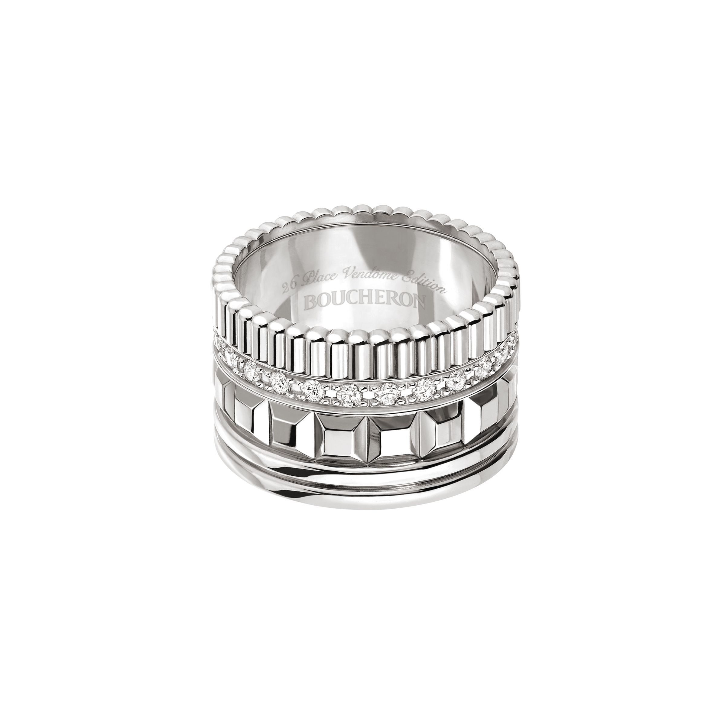 Boucheron 'Quatre Radiant Edition' ring in white gold. Limited Edition. $13,900
