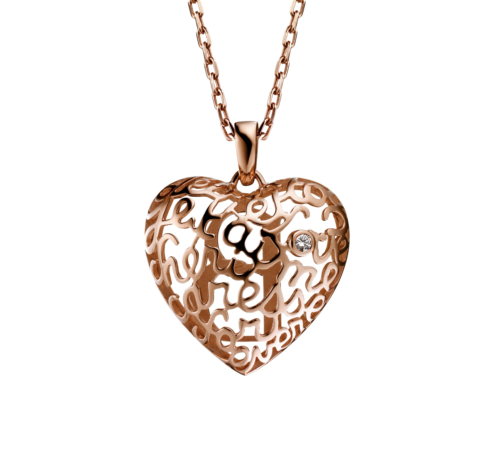 Boucheron 'Coeur-B' heart pendant in pink gold 'words of love' set with a diamond. $5,170