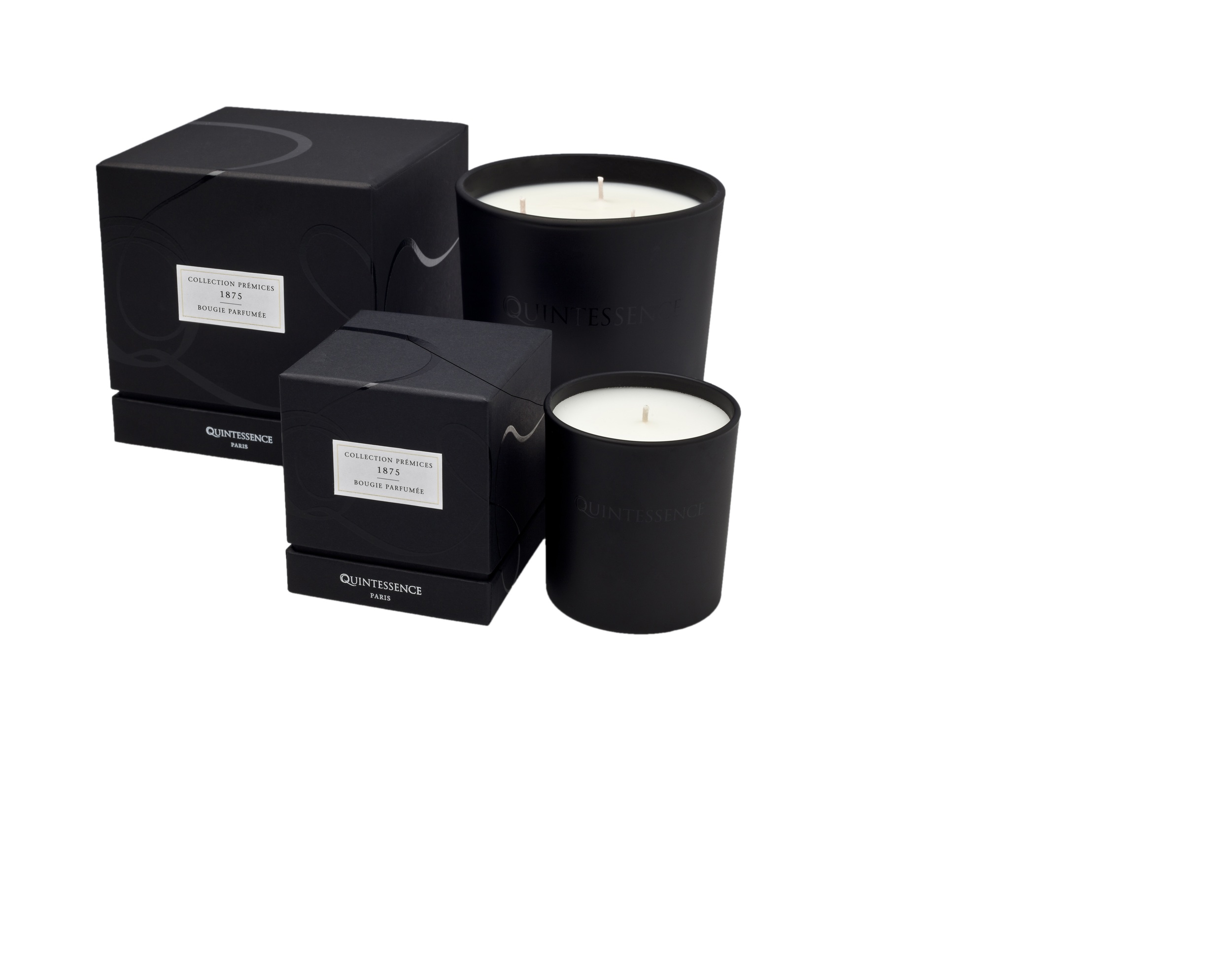 Quintessence-Paris candles in polished glass. Small $90, Large$250. Seasonal scents.
