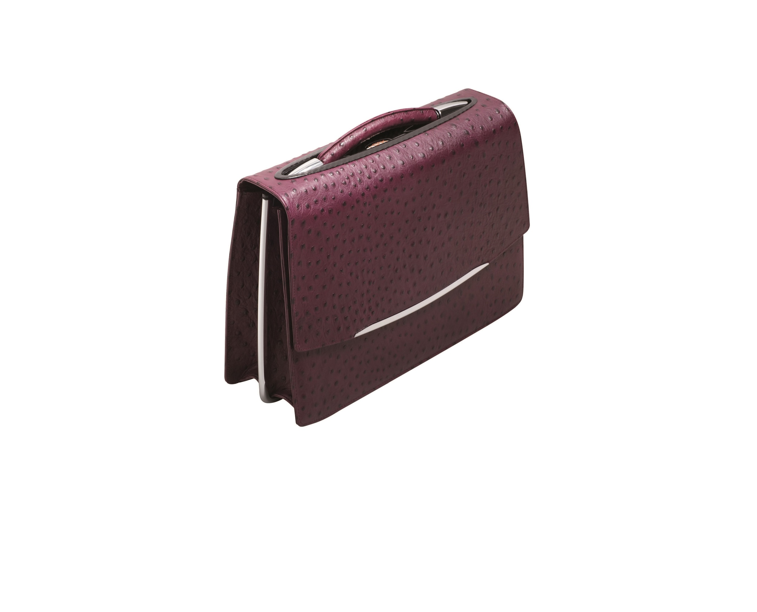HENK Ladies Briefcase in Violet 'Ostrich'. From $6,000 made to order