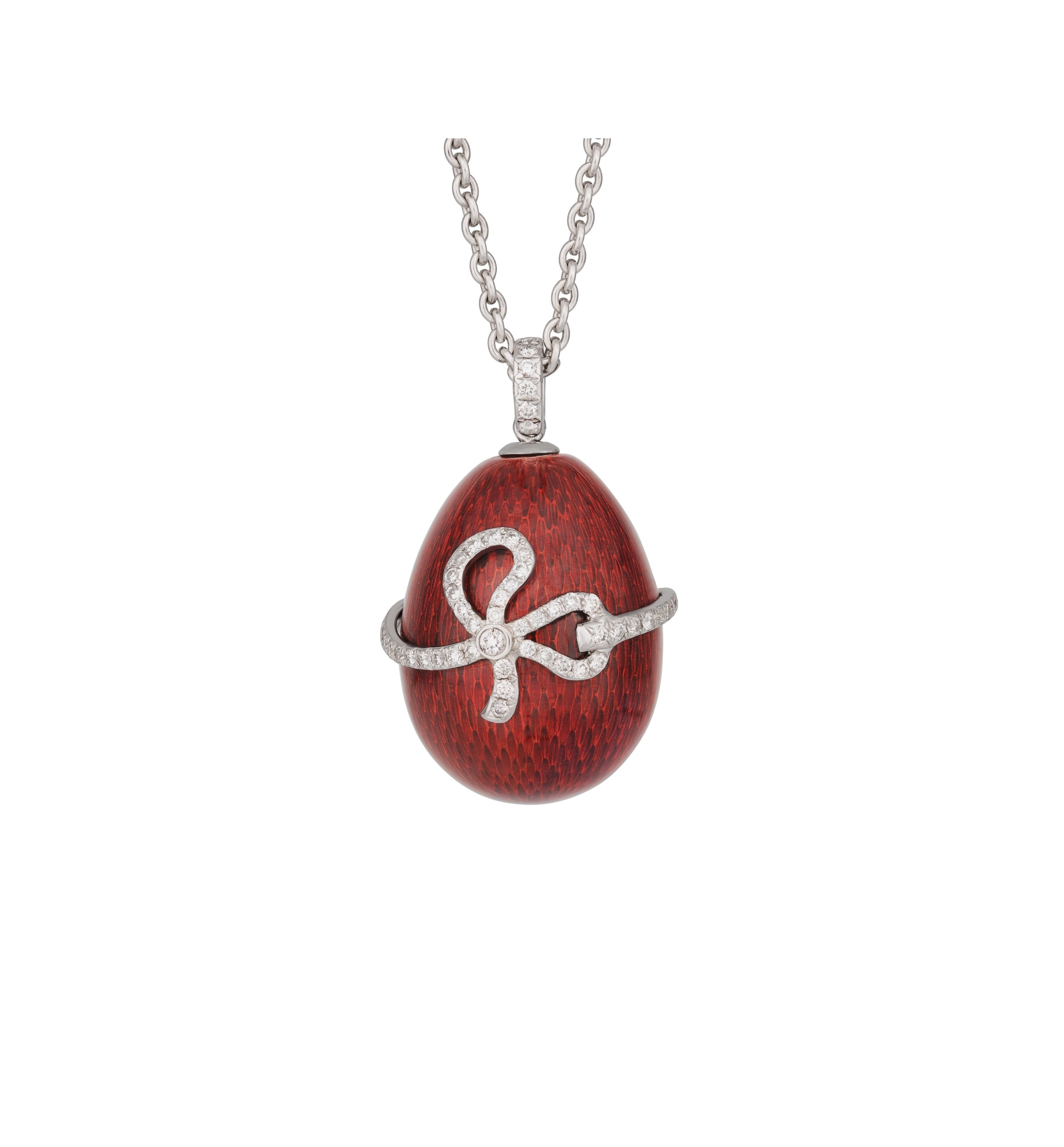 Faberge 'Oeuf Sophie' egg pendant in red enamel and diamonds. $12,750