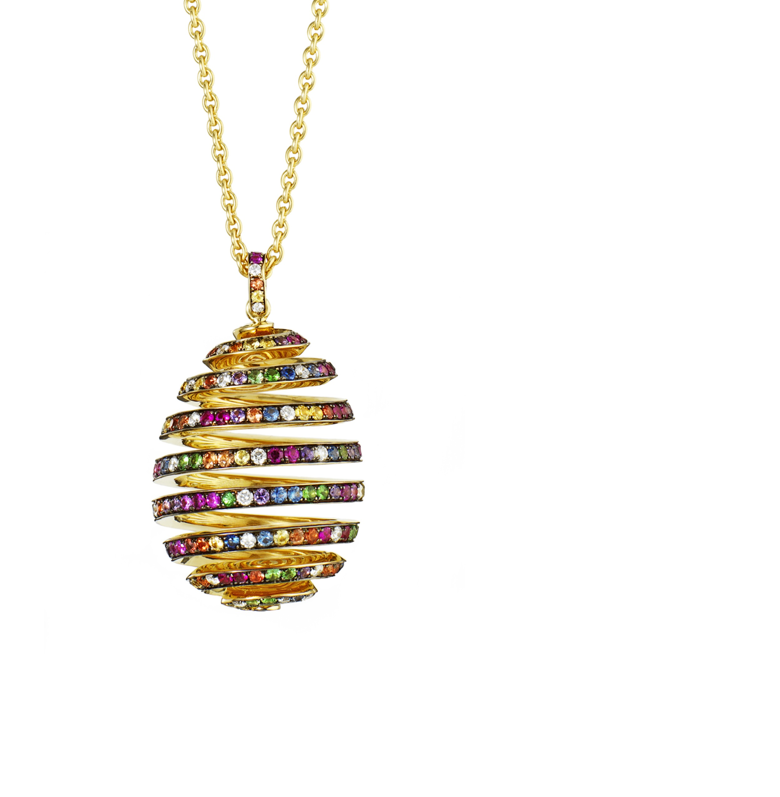 Faberge 'Oeuf Spirale' egg pendant with rubies and sapphires. Available in white gold and/or diamonds. From $16,240