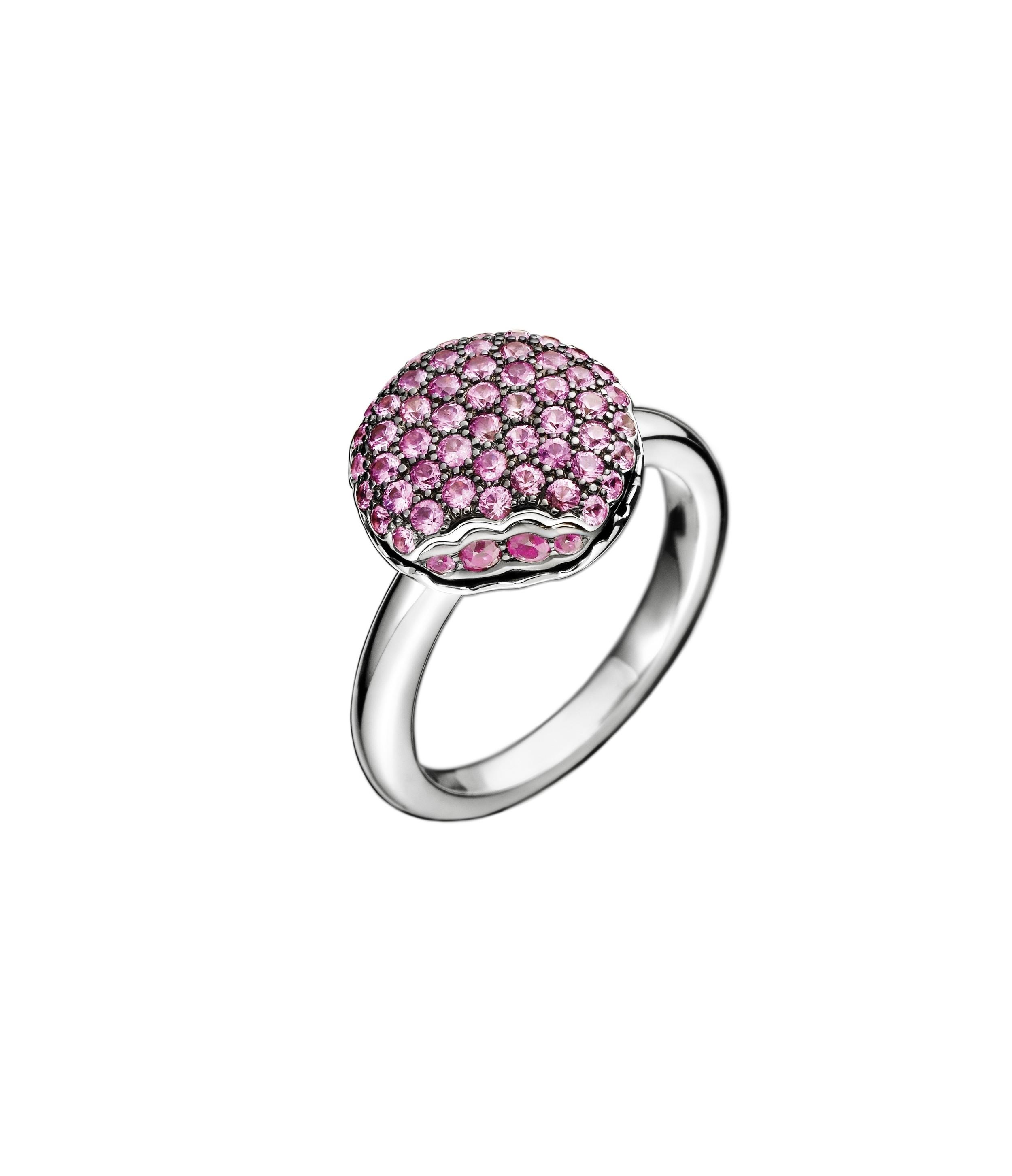 Boucheron 'Tentation Macaron' mini ring in pink sapphires and rubies. $4,850